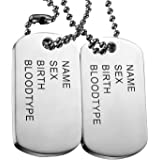 Oidea 2Pcs Stainless Steel Mens Cool Army Military Dog Tag Pendant Necklace,Silver