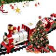 Christmas Train Set with Lights and Sounds, Railway Tracks Sets Battery Operated Locomotive Engine Tracks Playset - 260 cm, T