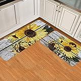 Sunflower Kitchen Mats Cushioned Anti Fatigue 2 Piece Set Non Skid Waterproof Kitchen Floor Mats, Standing Kitchen Mat Sunflo
