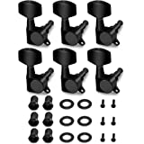 Metallor Sealed String Tuning Pegs Tuning Keys Machines Heads Tuners 6 In Line Right Handed Electric Guitar Parts (Black)
