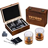 Whiskey Stones and Glasses Gift Set for Men – 8 Whiskey Scotch Bourbon Chilling Stones, 2 Whiskey Glasses in Wooden Box – Fat
