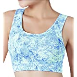 Women Fitness Breathable High Impact Workout with Removable Pads Support Sports Bra Gray Large