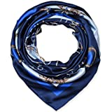 """100% Polyester Silk Feeling 35"""" Kerchief Neck Scarf for Women Chains Navy by corciova"""