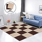 Y-Z ジョイントマット タイルカーペット 吸着 床保護 タイルマット ペット用カーペット ズレない 洗える タイルマット チェアマット 防音 床暖房対応 自由にカット可能 28*28CMブラウン10枚+ベージュ10枚