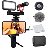 Movo Smartphone Video Kit V1 with Grip Rig, Shotgun Microphone, LED Light & Wireless Remote - for iPhone 5, 5C, 5S, 6, 6S, 7,