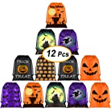 KUUQA 12 Pack Halloween Candy Bags, Halloween Drawstring Goodie Bags, Halloween Treats Bags, Halloween Bags for Halloween Par