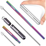 Reusable Collapsible Telescopic Straws, Travel Pocket Size, Portable Folding Straw with Silicone Tip, Stainless Steel Metal D