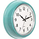Bernhard Products Retro Wall Clock 9.5 Inch Blue Kitchen 50's Vintage Design Round Silent Non Ticking Battery Operated Qualit