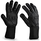 WISEWO Anti Hot Gloves,BBQ Cooking Glove 932°F Extreme Heat Resistant oven Gloves for Cooking, Grilling, Baking and Give You