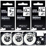 AKEN カシオ ネームランド テープ 9mm 12mm 18mm 白 テープカートリッジ 黒文字 XR-9WE XR-12WE XR-18WE CASIO互換テープ ラベルライター KL-TF7 対応 3個セット 強粘着