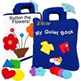Jollybaby My Quiet Book - 10 Theme Felt Soft Cloth Book Touch and Feel, 3D Books Fabric Activity for Babies /Toddlers, Learni