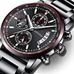 Men's Watches Sports Luxury Chronograph Waterproof Military Quartz Wristwatches for Men Rose Gold Hands Black Dress Watch