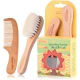 Baby Goat Hair Brush and Comb Set for Newborns & Toddlers Eco-Friendly Safe Brush for Cradle Cap Natural Wooden Comb Perfect