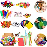 1000Pcs DIY Art Craft Kit for Kid Handmade Supplies Kit Project Scrapbook Craft Kit Flash Pompoms, Feathers, Buttons, Childre