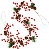 Christmas Garland Lights,Red Berry with Pine Cone Garland Lights,Fall Decor Garland,3AA Battery Operated Garlands for Indoor