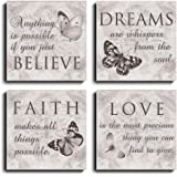 Quote Wall Art - 4 Panels Quotes of Life Inspiration Photo Artwork Prints on Canvas for Home Decoration Yoga, Shower, Study R