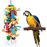 Bvanki Bird Toys, Parrot Chewing Toy, Multicolored Wooden Blocks Tearing Toys for African Grey Cockatiel Conure Cockatoo and