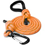 Mighty Paw Rope Dog Leash, Premium Climbers Rope, 6 Foot Long with Reflective Stitching, Climbers Carabiner Clip (6 Feet, Ora