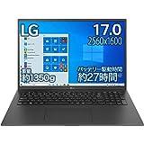 LG ノートパソコン gram 1350g/バッテリー最大27時間/Core i7/17インチ WQXGA(2560×1600)/メモリ 16GB/SSD 1TB/Thunderbolt4/ブラック/17Z90P-KA78J (2021年モデル)/A