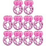 Sexy Slave [10-Pack] Butterfly Vibrating Cock Ring - Stretchy Penis Ring - Clitorial Stimulation for Women - Adult Sex Toys f