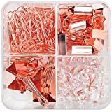 Binder Clips Paper Clips Push Pins Sets with Box for Office,School and Home Supplies (Rose Gold)