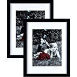 """Tasse Verre 11x14 Picture Frame (Black 2-Pack) - HIGH Definition Glass Front Cover - Displays 11 by 14"""" Picture w/o Mat or an"""
