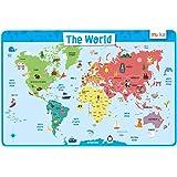 merka Educational Kids Placemat - Non Slip Washable World Map