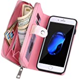 Urvoix iPhone 6 Plus/iPhone 6S Plus Case, Woven Skin Leather Zipper Wallet Detachable/Separable Magnetic Back Shell Cover w/H