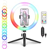 Neewer 12-inch RGB Ring Light Selfie Light Ring with Tabletop Tripod Stand & Phone Holder, Remote Control, Dimmable LED Desk