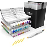 Artify 2020 48 Colors Brush Chisel Dual Tip Art Markers, Alcohol Artist Drawing Marker Set with A Carrying Case for Adult Col