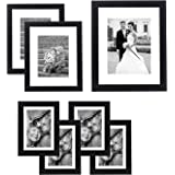 Americanflat 7 Pack Gallery Wall Set   Displays One 11x14, Two 8x10, and Four 5x7 inch photos. Shatter-Resistant Glass. Hangi