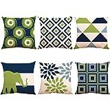 ZUEXT Throw Pillow Covers Art Deco Green Floral Geometric Art Elephant-03