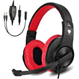 BUTFULAKE Stereo Gaming Headset for PS4, Xbox One, Nintendo Switch, Adjustable Earmuffs and OVER-ALL Noise Isolation, Lightwe