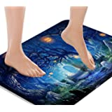 Britimes Bath Mats for Bathroom, Bathroom Mats Rugs Bathtub Mat No Silp, Halloween Pumpkin Tree Blue Washable Cover Floor Rug