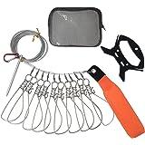 フロート付きストリンガー ワンタッチフック 5/10個入り ロープ全長5/10m 魚の新鮮さを保持 ステンレス製 収納バッグ付き