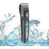 CkeyiN 電動バリカン 防水 ヘアカッター 全身水洗い可 10段階刈り高さ調節可能 LEDディスプレ トリマー メンズ 散髪用 家庭用 子供用 USB充電式 バリカン 1年間品質保証 グレー