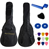 YMC 41 Inch Waterproof Dual Adjustable Shoulder Strap Acoustic Guitar Gig Bag 5mm Padding Backpack with Accessories(Picks Pic