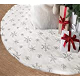 AOGU 48 Inch Sequin Faux Fur Christmas Tree Skirt Decoration for Merry Christmas Party White Plush Silver Sequin Snowflake Xm