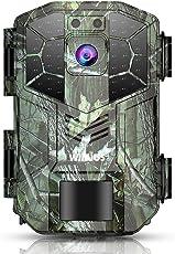WIMIUS トレイルカメラ 防犯カメラ 動き検知 1600万画素 1080P フルHD 防水カメラ IP66防水防塵 赤外線LEDライト搭載 20m 暗視カメラ 90°検知範囲 人感センサー 日本語説明書付き 迷彩色 H5