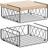 Auledio Under The Cabinet Shelf Rack, Vertical Wire Rack for Hanging Storage Baskets with Liner,Bronze (2 Pack)