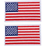 2 PCS USA Flag Patches Embroidered Appliques with White Border Iron On Sew On Stickers United States of America Logo Badge fo