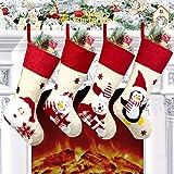 "LSXD Christmas Stockings, Big Size 18"" Xmas Stockings Set of 3 Santa, Snowman, Reindeer, Xmas Decorations Party Supplies"