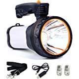 Allflash High Power Super Bright Portable Handheld Spotlight Flashlight 6000 Lumens USB Rechargeable LED Searchlight Waterpro