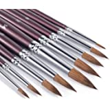 Sable Watercolor Brushes- Round Detail Paint Brush Set, Sable Hair 9 Different Sizes for Watercolors, Acrylics, Inks, Gouache
