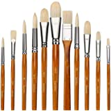 11pcs Professional Paint Brush Set-100% Natural Chungking Hog Bristle Artist Watercolor Brushes for Acrylic Gouache Oil Paint