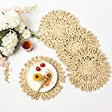 IcosaMro Round Woven Placemats for Dining Table Set of 4 Natural Braided Rattan Tablemat Hollow Wicker Charger Plates for Hol