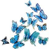 DaGou mixed of 12PCS 3D Pink Butterfly Wall Stickers Decor Art Decorations - (Blue)