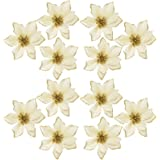 OurWarm 50pcs Glitter Poinsettia Christmas Tree Ornaments Poinsettia Artificial Flowers for Christmas Decorations Gold