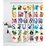 Alphabet Shower Curtain Kids ABC Educational Learning Tool Boys Babies Large A to Z with 12 Hooks Waterproof Washable and Dur