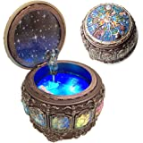 Amperer Vintage Music Box with Constellations Rotating Goddess LED Lights Twinkling Resin Carved Mechanism Musical Box with S